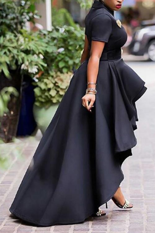 Elegante Mandarin Collar Asymmetrical Falbala Design Black Polyester Mid Calf Dress