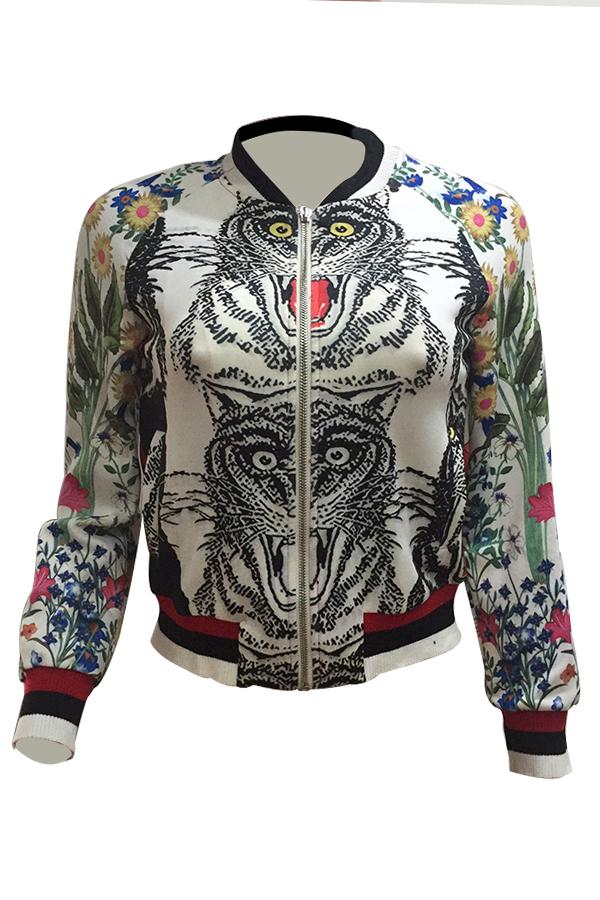 Stylish Round Neck Animal Print Polyester Coat