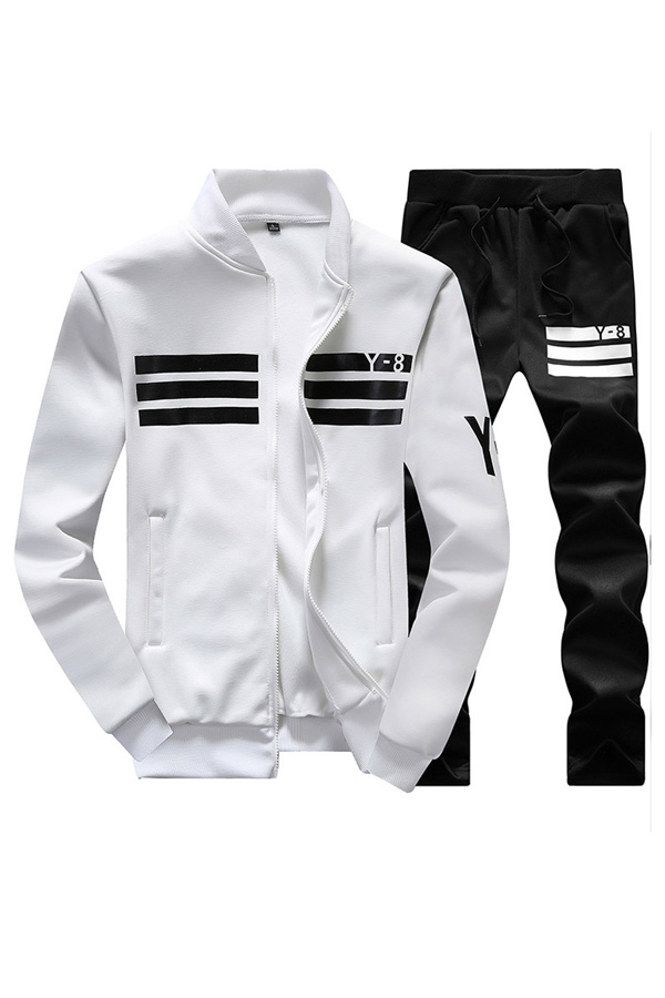 Freizeit V-Ausschnitt Mit Langen Ärmeln Reißverschluss Design Weiße Polyester Zweiteilige Hose Set