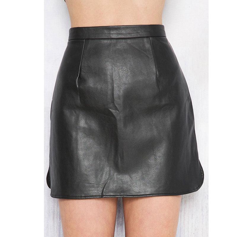 Fashion High Waist Black Leather Sheath Mini Skirts
