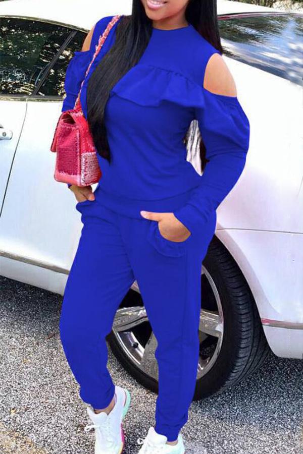 Fashionable Round Neck Dew Shoulder Ruffle Design Blue Polyester Hoodies<br>