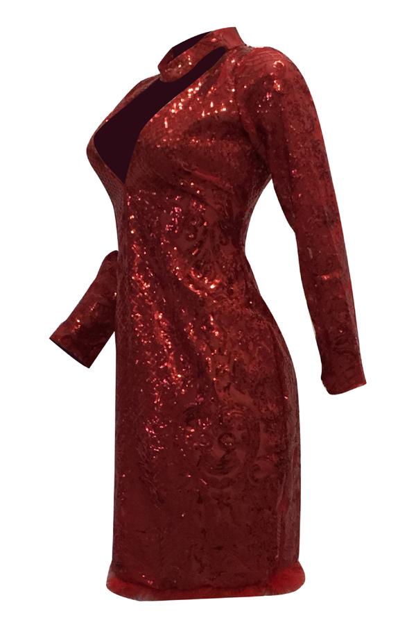 Vestido Largo Sexy Hasta La Rodilla Con Cuello En V Rojo Poliéster Hasta La Rodilla