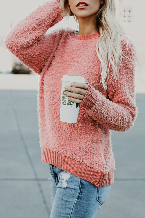 Lovely Euramerican Round Neck Long Sleeves Pink Polyester Sweaters
