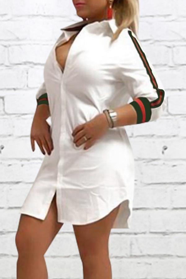 Fashionable Turndown Collar Striped White Polyester Mini Dress Dresses <br><br>