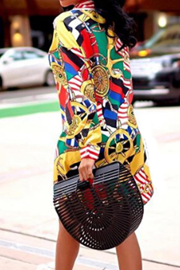 Trendy Turndown Kragen Gedruckt Gesundes Stoff Mini Kleid (Ohne Gürtel)