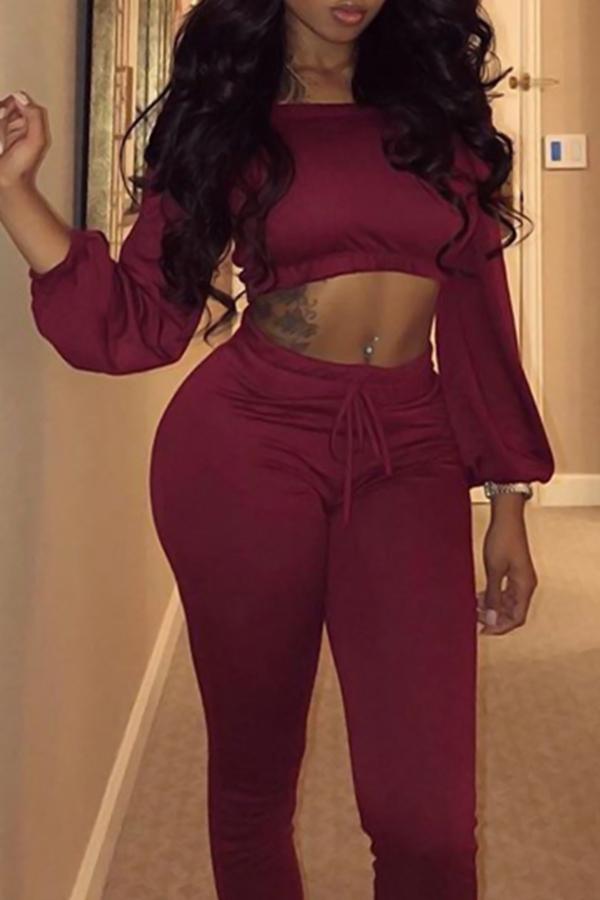 Trendy Bateau Neck Lacing Purplish Red Blending Two-piece Pants Set<br>