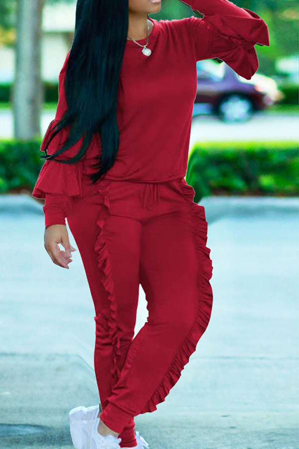Fashionable Round Neck Ruched Red Blending Two-piece Pants Set
