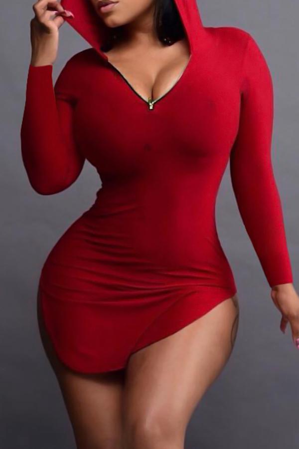 Sexy Hooded Collar Irregular Design Red Polyester Mini Dress Dresses <br><br>