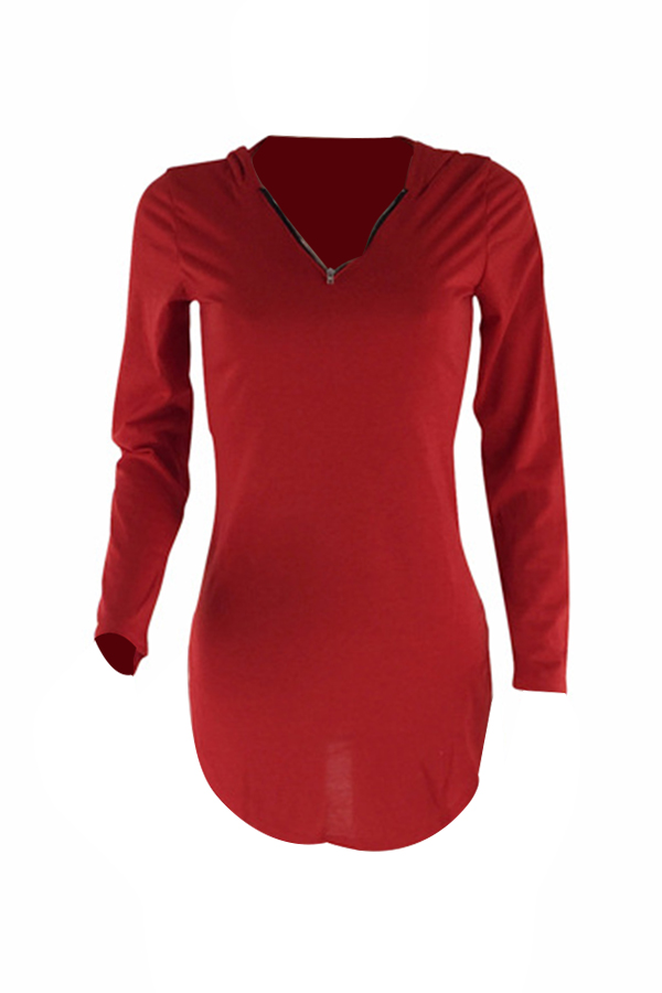 Mini Vestido De Poliéster Rojo De Diseño Irregular Sexy Con Capucha