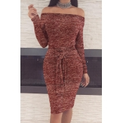 Casual Dew Shoulder Lace-up Wine Red Polyester Sheath Knee Length Dress