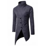 Fashionable Turtleneck Asymmetrical Grey Polyester