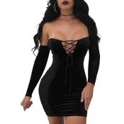 Vestido Mini De Poliéster Negro Con Cordones Y Tirantes Sin Tirantes Sexy