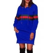 Mini Vestido Con Capucha De Poliéster Azul