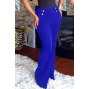 Euramerican High Waist Button Decorative Blue Polyester Pants
