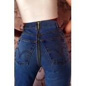Euramerican High Waist Zipper Design Deep Blue Den