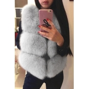 Euramerican V Neck Fur Design Grey Waistcoats