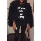 Fashionable Round Neck Long Sleeves Black Faux Fur Coat