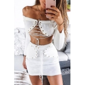 Sexy Bateau Neck Lace-up White Cotton Two-piece Sk
