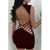 Sexy V-Ausschnitt Aushöhlen Weinrot Polyester-Mantel-Minikleid
