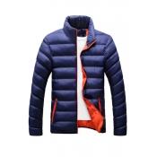 Fashionable Mandarin Collar Long Sleeves Navy Blue
