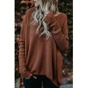 Euramerican Round Neck Asymmetrical Brown Acrylic  Sweaters