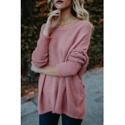 Euramerican Round Neck Asymmetrical Pink Acrylic  Sweaters