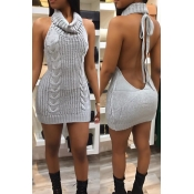 Sexy Turtleneck Backless Grey Knitting Mini Dress