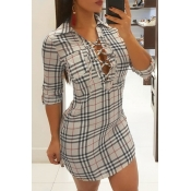 Sexy Turndown Collar Lace-up Grid Printed Yellow Polyester Mini Dress