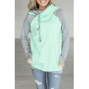 Lovely Leisure Hooded Collar Patchwork Green Blend