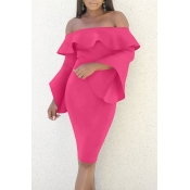 Sexy Bateau Neck Mandarin Sleeves Rose Red Polyest