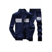 Leisure V Neck Long Sleeves Zipper Design Dark Blue Polyester Two-piece Pants Set