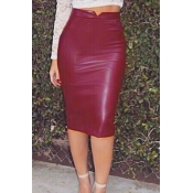 Trendy High Waist Purplish Red Leather Sheath Knee Length Skirts