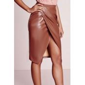 Trendy High Waist Front Split Coffee Leather Knee