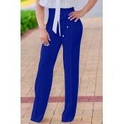Pantaloni In Poliestere Blu Con Lacci In Vita Alta Moda
