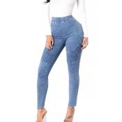 denim Solid Elastic Waist High Regular Pants Jeans