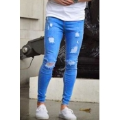 Trendy Broken Holes Light Blue Denim Pants for men