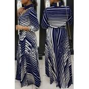 Causal V Neck Stripe Printed Blue Healthy Fabric A