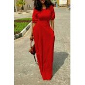 Freizeit Rundhalsausschnitt Design Rotes Polyester Bodenlangen Kleid