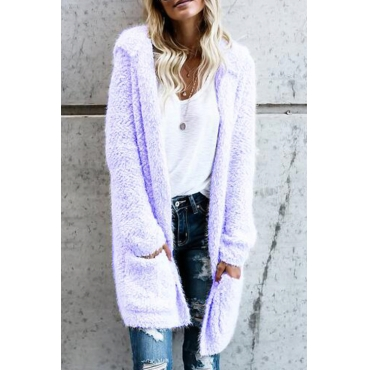Lovely Euramerican Long Sleeves Purple Velvet Cardigans
