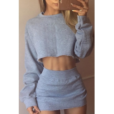 Sexy Round Neck Long Sleeves Grey Cotton Two-piece Skirt Set