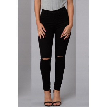 Trendy Mid Waist Broken Holes Black Denim Pants
