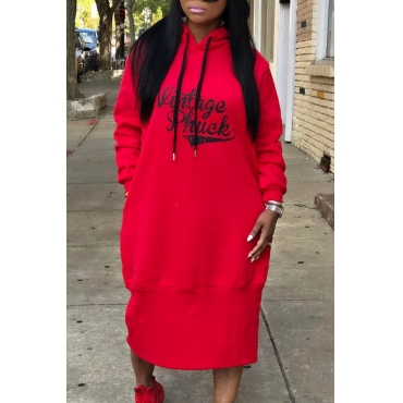 Casual Hooded Collar Letters Printed Red Polyester Mid Calf Dress
