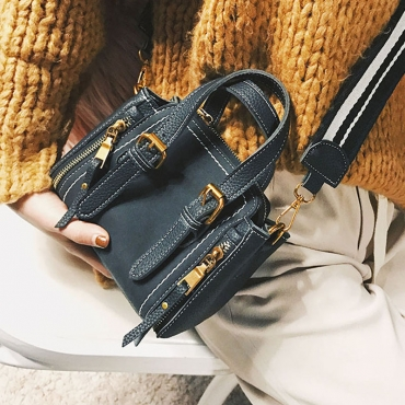 Trendy Zipper Design Black PU Crossbody Bag