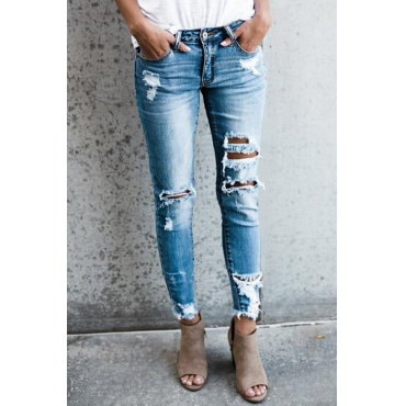 Trendy Mid Waist Broken Holes Blue Denim Jeans