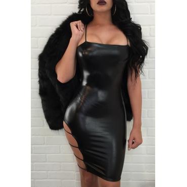 Sexy Sleeveless Hollow-out Black PU Mini Slip Dress