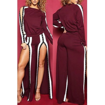 Fashionable Round Neck Slit Design Wine Red Cotton Two-piece Pants Set