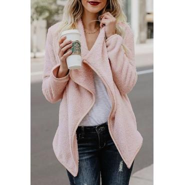 Lovely Euramerican Turndown Collar Long Sleeves Pink Blending Coat