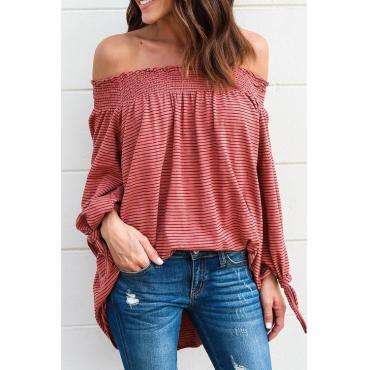 Lovely Stylish Bateau Neck Striped Orange Polyester Shirts