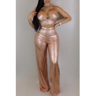 Sexy Spaghetti Strap Sleeveless Gold Blending Two-piece Pants Set