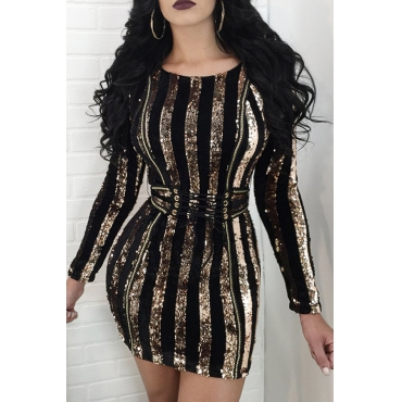 Euramerican Round Neck Sequined Decorative Striped Gold Polyester Mini Dress